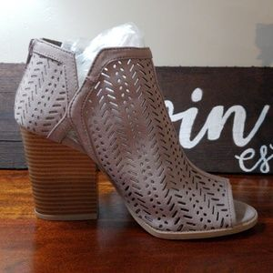 Qupid Taupe Perforated Booties